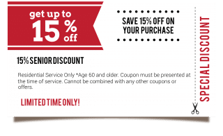 15% Senior discount off the total service bill!